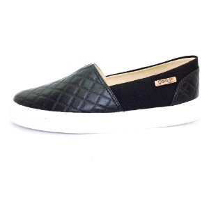 Tênis Slip On Quality Shoes Feminino 002 Matelassê Preto/Preto