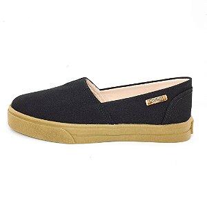 Tênis Slip On Quality Shoes Feminino 002 Preto Lona Sola Caramelo