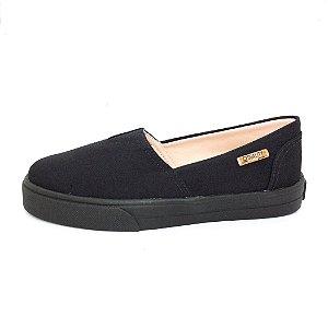 Tênis Slip On Quality Shoes Feminino 002 Preto Lona Sola Preta