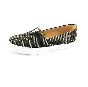 Tênis Slip On Quality Shoes Feminino 002 Preto Poá Dourado