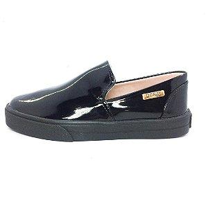 Tênis Slip On Quality Shoes Feminino 004 Verniz Preto Sola Preta