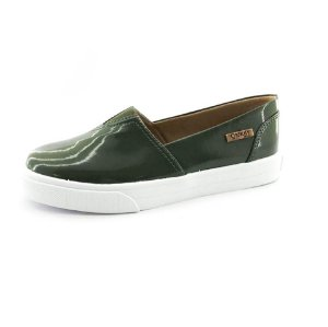 Tênis Slip On Quality Shoes Feminino 002 Verniz Verde Militar