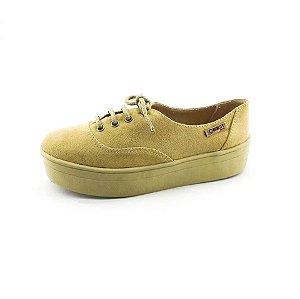 Tênis Flatform Quality Shoes Feminino 005 Camurça e Sola Caramelo