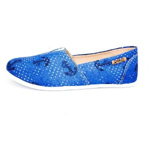 Alpargata Quality Shoes Feminina 001 Jeans Âncora Azul