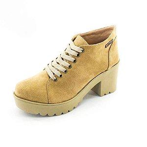 Bota Coturno Quality Shoes Feminina Camurça Caramelo