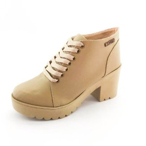 Bota Coturno Quality Shoes Feminina Nude