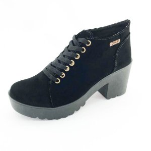 Bota Coturno Quality Shoes Feminina Camurça Preta