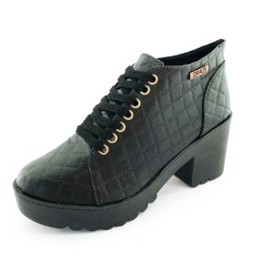 Bota Coturno Quality Shoes Feminina Matelassê Preto