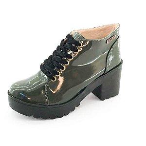 Bota Coturno Quality Shoes Feminina Verde Musgo Verniz