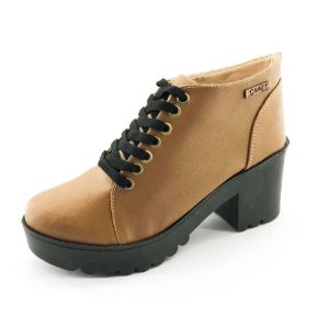 Bota Coturno Quality Shoes Feminina Marrom Claro