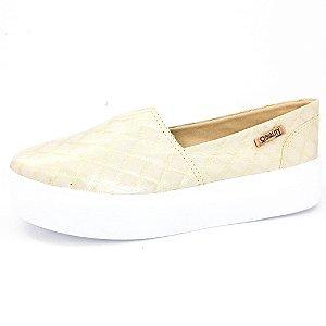 Tênis Flatform Quality Shoes Feminino 003 Matelassê Dourado