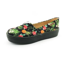 Tênis Flatform Quality Shoes Feminino 003 Abacaxi Preto Sola Preta