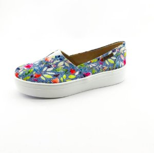 Tênis Flatform Quality Shoes Feminino 003 Jeans Floral 214
