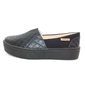 Tênis Flatform Quality Shoes Feminino 003 Matelassê Preto Sola Preta