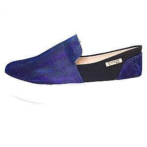 Tênis Flatform Quality Shoes Feminino 004 Azul Multicolor e Preto