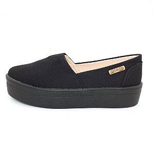 Tênis Flatform Quality Shoes Feminino 003 Lona Preta Sola Preta