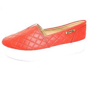 Tênis Flatform Quality Shoes Feminino 003 Matelassê Vermelho