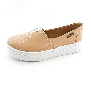 Tênis Flatform Quality Shoes Feminino 003 Verniz Bege
