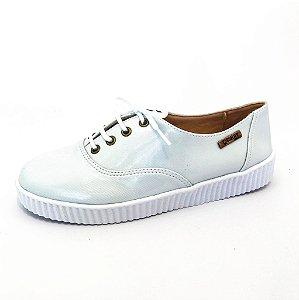 Tênis Creeper Quality Shoes Feminino 005 Verniz Branco Gelo