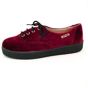 Tênis Creeper Quality Shoes Feminino 005 Veludo Bordô