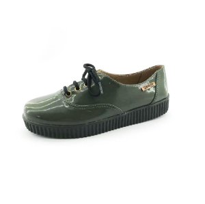 Tênis Creeper Quality Shoes Feminino 005 Verniz Verde Militar Sola Preta