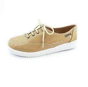 Tênis Creeper Quality Shoes Feminino 005 Verniz Bege Perfurado