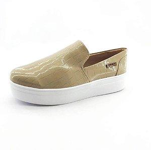 Tênis Flatform Quality Shoes Feminino 004 Verniz Croco Nude