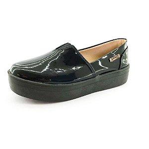 Tênis Flatform Quality Shoes Feminino 003 Verniz Preto Sola Preta