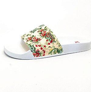 Chinelo Slide Quality Shoes Feminino Floral Amarelo Sola Branca