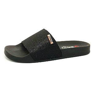 Chinelo Slide Quality Shoes Feminino Glitter Preto Sola Preta