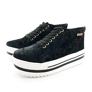 Tênis Quality Shoes Flatform 006 Veludo Preto Sola Alta com Detalhe