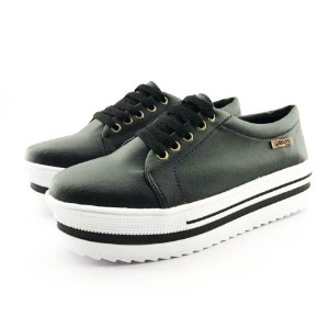 Tênis Quality Shoes Flatform 007 Courino Preto Sola Alta com Detalhe