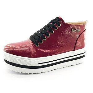 Tênis Quality Shoes Flatform 006 Vermelho Sola Alta com Detalhe