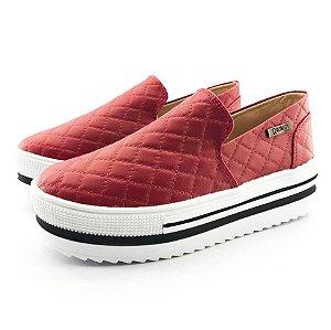 Tênis Quality Shoes Flatform 004 Matelassê Vermelho Sola Alta com Detalhe