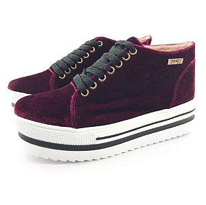 Tênis Quality Shoes Flatform 006 Veludo Bordô Sola Alta com Detalhe