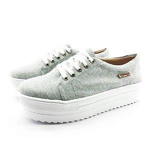 Tênis Quality Shoes Flatform 007 Cinza Mescla Sola Alta