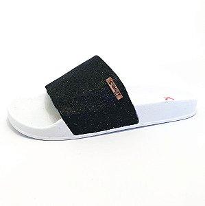 Chinelo Slide Quality Shoes Feminino Glitter Preto Sola Branca