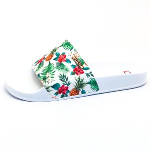 Chinelo Slide Quality Shoes Feminino Abacaxi Branco Sola Branca