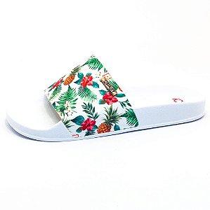 Chinelo Slide Quality Shoes Feminino Abacaxi Branco Sola Branca