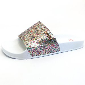 Chinelo Slide Quality Shoes Feminino Glitter Colorido Sola Branca