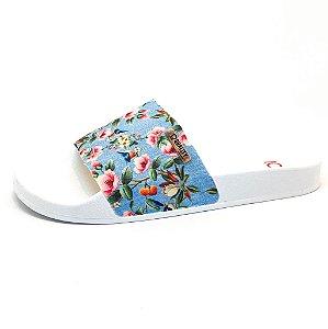 Chinelo Slide Quality Shoes Feminino Floral 797 Sola Branca