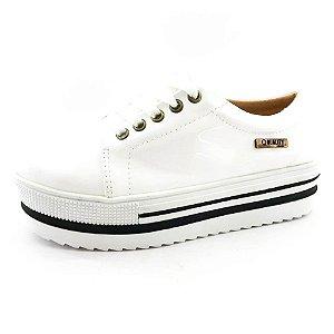 Tênis Quality Shoes Flatform 007 Verniz Branco Sola Alta com Detalhe