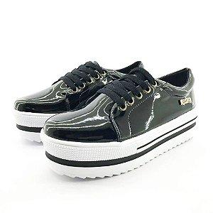 Tênis Quality Shoes Flatform 007 Verniz Preto Sola Alta com Detalhe
