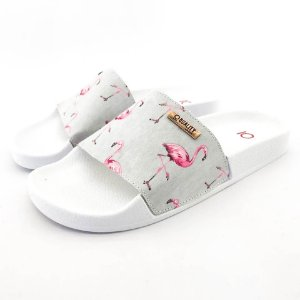 Chinelo Slide Quality Shoes Feminino Flamingo Roza/Cinza Sola Branca