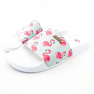 Chinelo Slide Quality Shoes Feminino Flamingo Rosa/Verde Sola Branca