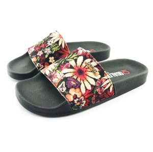 Chinelo Slide Quality Shoes Feminino Floral Preto Sola Preta