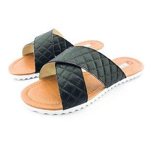 Rasteira Quality Shoes Feminina 008 Matelassê Preto