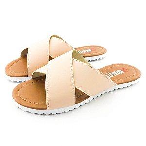 Rasteira Quality Shoes Feminina 008 Courino Bege Rosado