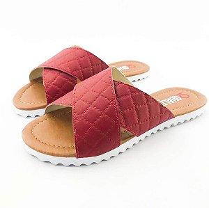 Rasteira Quality Shoes Feminina 008 Matelassê Vermelho