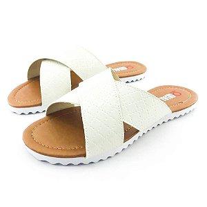 Rasteira Quality Shoes Feminina 008 Verniz Matelassê Branco